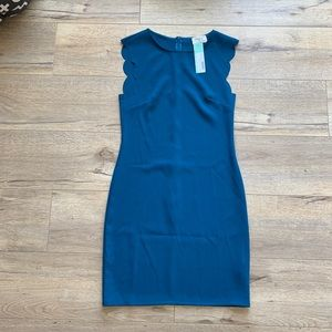 NWT Everly Fran Scallop Edge Dress Teal - XS